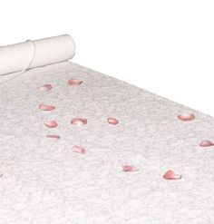 Hortense B. Hewitt Wedding Accessories Fabric Aisle Runner, White with Flower Imprint, 36-Inch Wide by 100-Feet Long