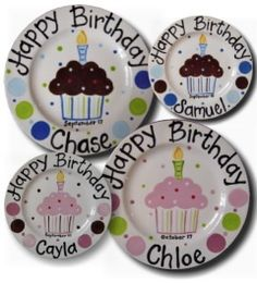 Birthday Plate!  I'm thinking diy project for each of my girls, too bad I didn't see these for their 1st birthdays.