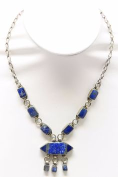 Genuine LAPIS LAZULI Deep Blue Semi-Precious Sterling Silver Necklace MF41007 #Unbranded #Pendant