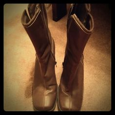Boots Brown boots looks great with jeans some wear also have zippers on the side Shoes