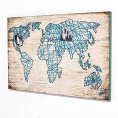 Bild Travel Mit Weltkarte Aus Bindfaden MDF Vorderansicht