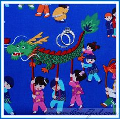 BOOAK Fabric Michael Miller Chinese New Year Dragon Asian Disney Small World FQ  EBAY