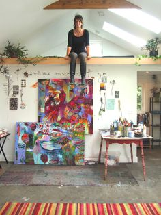 artist Flora Bowley. I love the bits of inspiration on the wall.