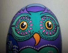 Hand painted stone Owl design by ShePaintsSeaStones on Etsy