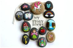 Make your own story stones! These 5 story stones ideas for kids include painted, drawn, and collaged story stones plus ideas for story telling with them.