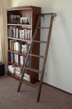 Ladder Cat Tree: take an old wooden stepladder, remove the back half, and anchor it to the wall. My cat uses it to reach the top of the bookshelf where he has a bed. It's his favorite spot!