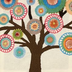 DIMENSIONS-Handmade Embroidery Kit. These kits feature beautiful colors and designs and are easy enough for even a beginner to make! This package contains printed cotton fabric; presorted wool yarn; needle and instructions. Design: Tree Crewel.