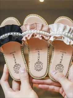 Pearl Sandals, Suede Sandals, Shoes Sandals, Flats, Kid Shoes, Girls Shoes, Baby Shoes, Girls White Blouse, Kids Slippers