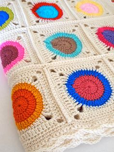 Crochet blanket granny squares with circles in by mostlyjonah, $160.00