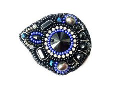 Beaded embroidery black blue brooch Crystal brooch pin Bead embroidered pearl brooch Original brooch handmade Gift for women brooch Beadwork