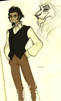 Scar as a Human.  AWESOME. Reminds me of a younger version of Count Olaf.