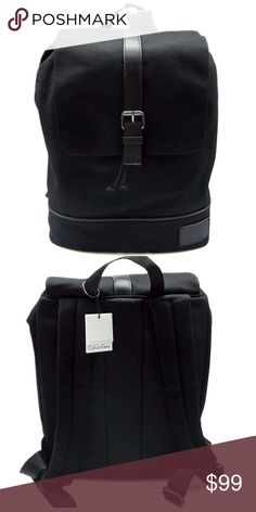 """[Calvin Klein] black canvas back pack pu trim Beautifully crafted backpack in black canvas w/leather trim -Exterior features magnetic snap button/drawstring closure, top handle and dual adjustable shoulder straps -Leather and canvas construction, leather logo decal on front -Interior features a padded laptop/tablet pocket, 1 zip pocket and 2 slip pockets 17""""H x 12""""W x 5""""D Approximate 12-18"""" straps drop 3"""" top handle drop Brand new with tags Calvin Klein Bags Backpacks"""