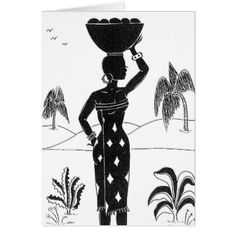 African Girl Silhouette cards - black and white gifts unique special b&w style