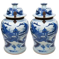 A pair of Massive Chinese Blue and White Temple Jars | From a unique collection of antique and modern vases at http://www.1stdibs.com/furniture/dining-entertaining/vases/