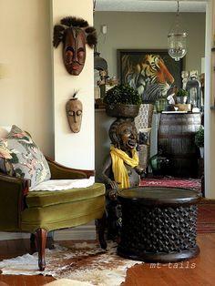spring 2013, green velvet chair, african bronze statue
