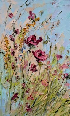 Red Blue Art Wildflowers Abstract Original by ForestSandandAir