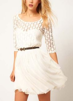 Elegant White Half Sleeve A Line Mini Dress | Rosewe.com
