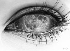 Moonlight - Moonlight by TeSz, via Behance -You can find Moonlight and more on our website.Moonlight - Moonlight by TeSz, via Behance - Dark Art Drawings, Art Drawings Sketches Simple, Pencil Art Drawings, Cool Drawings, Moon Sketches, Eye Illustration, Eyes Artwork, Eye Sketch, Aesthetic Eyes