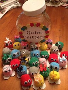 Quiet Critters - They live in a soundproof jar  only come out when it's quiet. They don't like a noisy classroom! During quiet work time you can pop one on each student's desk. If they are noisy you can move the critter to the side of their desk as a warning. If they continue to be noisy, the critter is returned to the jar. At the end of the lesson, whoever still has a critter on their desk can change it over for a sticker, points or other incentive.