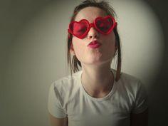 heart glasses red