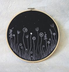 Hand Embroidery Hoop Wall Art Flowers in the Night by oksaniko, $63.00