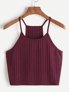 Shop Ribbed Knit Racer Back Cami Top online. SHEIN offers Ribbed Knit Racer Back Cami Top & more to fit your fashionable needs. Cami Tops, Cami Crop Top, Crop Tank, Cropped Cami, Cute Tank Tops, Halter Crop Top, Teen Fashion Outfits, Casual Outfits, Summer Outfits