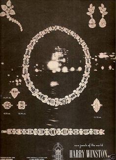 60's Vintage Harry Winston  Jewelry Advertisement  1963 #HarryWinstonJewellery