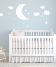 Teal Moon, Clouds & Stars Wall Decal Set | Daily deals for moms, babies and kids