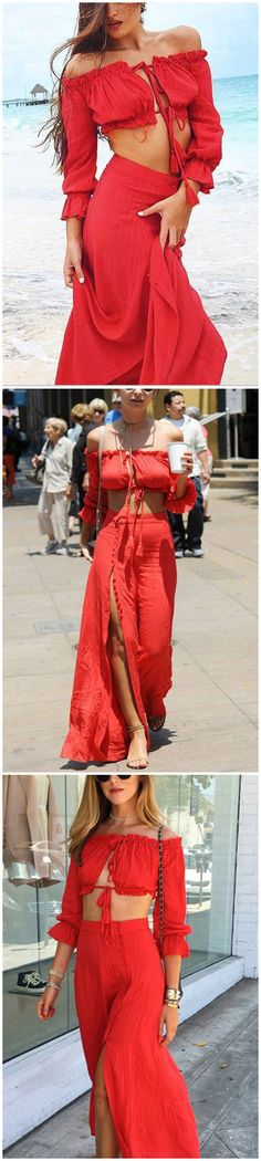 Off Shoulder Crop Top & Maxi Skirt Co-ord In Red