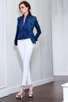 Rachel Zoe Resort 2013 /Blue jean Jacket/White jeans  toyastales.blogspot.com