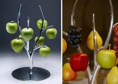 I am loving this clever fruit hanger by Simon Colabufalo, which debuted at DesignEX 2012 in Sydney. Made of polished aluminum, this prototype was designed to bring the fruit back to the tree. I don't know that it would work for fruits with no stems, but it's a lovely concept that made me smile.