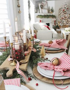 Simple holiday tablescape by Country Girl Home Christmas Table Centerpieces, Christmas Table Settings, Christmas Tablescapes, Christmas Decorations, Fall Lantern Centerpieces, Holiday Tablescape, Holiday Decorating, Decorating Ideas, Decor Ideas