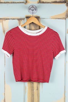 Tiny Stripe Cropped Ringer Tee