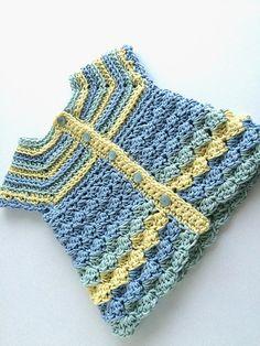"""Baby Cardigan """"Stripes and Bubbles"""" by Kinga Erdem - FREE Baby Sweater Crochet Pattern Crochet Baby Sweater Pattern, Crochet Baby Sweaters, Crochet Baby Cardigan, Baby Girl Crochet, Crochet Baby Clothes, Cute Crochet, Crochet For Kids, Baby Knitting, Knit Crochet"""