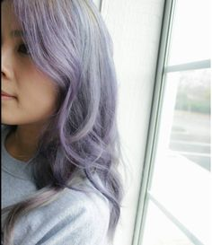 Long hair, purple silver hair color, ombre, hairstyle
