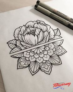 half rose, mandala tattoo design, black and white drawing, white backgorund Mandala tattoos have taken the world by storm. What is their symbolism? Read our article to find out the real meaning and beauty of a mandala tattoo. Mandala Tattoo Design, Tatuaje Mandala Floral, Half Mandala Tattoo, Floral Mandala Tattoo, Mandala Rose, Tattoo Designs, Henna Designs, Tattoo Flowers, Mandala Tattoo Meaning