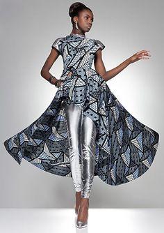 Silver leggings ~DKK ~African fashion, Ankara, kitenge, African women dresses, African prints, African men's fashion, Nigerian style, Ghanaian fashion.