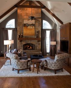 fireplace, hearth, mantel and beams
