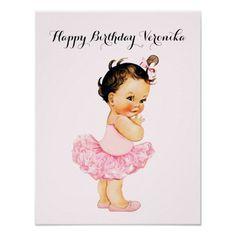 Vintage Brunette Baby Girl Ballerina Tutu Pink Poster