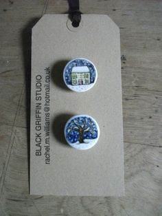 handpainted bone china buttons  *snowy*