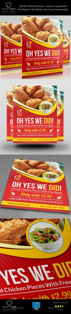 #Restaurant #Flyer #Template Vol.8 - Restaurant Flyers Download here: https://graphicriver.net/item/restaurant-flyer-template-vol8/11877112?ref=alena994