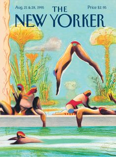 """The New Yorker - Monday, August 21 & 1995 - Issue # 3672 - Vol. 71 - N° 25 - Cover """"Diving In"""" by Lorenzo Mattotti The New Yorker, New Yorker Covers, Tom Bagshaw, Lorenzo Mattotti, Art Deco Posters, Magazine Art, Magazine Covers, Pokemon Cosplay, Illustrations And Posters"""