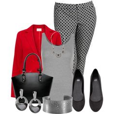A fashion look from February 2015 featuring gray vest, red blazer and plus size pants. Browse and shop related looks. Curvy Outfits, Mode Outfits, Chic Outfits, Plus Size Outfits, Big Girl Fashion, Work Fashion, Cute Fashion, Womens Fashion, Style Fashion