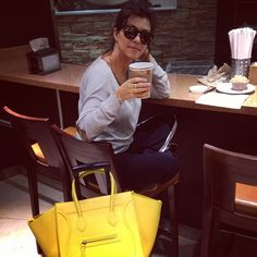 Kourtney Kardashian Celine Yellow Luggage Bag is officially on my birthday list for 2014 #want