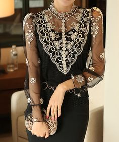 Stylish Turtle Neck Long Sleeve Spliced See-Through Blouse For Women