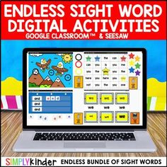 Digital Sight Word Activities : Google & Seesaw (ENDLESS) : Kindergarten & First Kindergarten Sight Word Games, Teaching Sight Words, Dolch Sight Words, Sight Word Practice, Sight Word Activities, Phonics Activities, Kindergarten Reading, Nouns First Grade, Second Grade