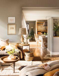 0402. salon comunicado con el office de la cocina con muebles en tonos grisaceos