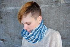 Hand #Knit Natural #Indigo Dyed Cotton Cowl  by SquidWhaleDesigns, $60.00