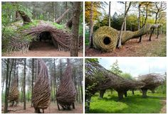 Dutchland artist Will Beckers (known as The Willowman) creates stunning, ephemeral, site-specific sculptures made from re-used local materials. He uses living natural materials to create whimsical sculptures. These sculptures are made for people to enjoy but also serve as shelters for woodland anima…
