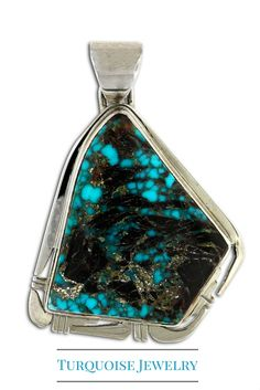 Apache Blue Turquoise Pendant Handmade by Native American Phillip Sanchez. What a fascinating stone!